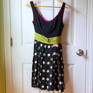Anthropologie Black and Tan Polka Dot Dress